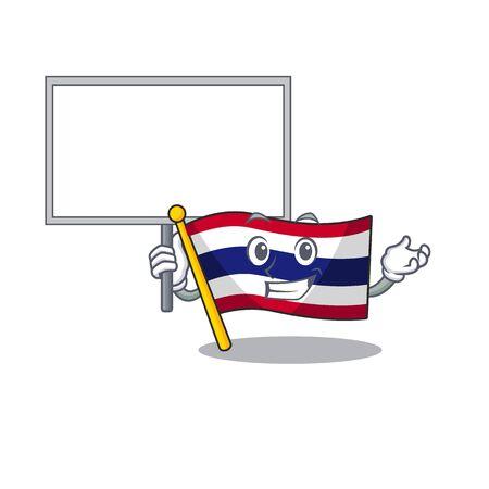Bring board flag thailand cartoon on shaped mascot vector illustration