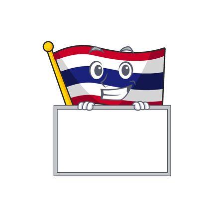 Grinning with board flag thailand cartoon on shaped mascot vector illustration Иллюстрация