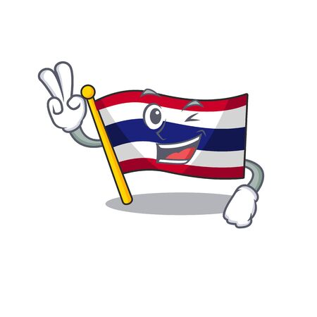Two finger flag thailand isolated with the character Illusztráció