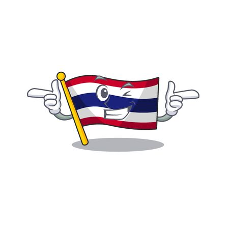 Wink flag thailand isolated with the character