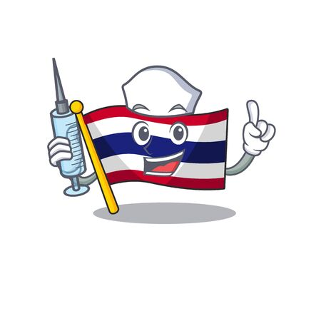 Nurse flag thailand isolated with the character