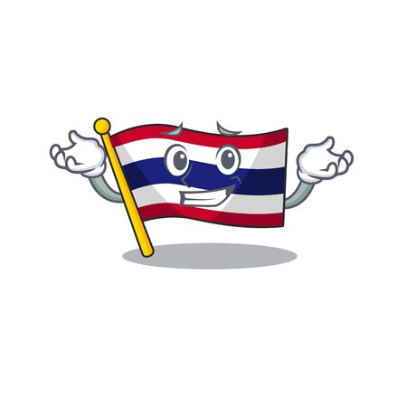 Grinning flag thailand isolated with the character Illusztráció