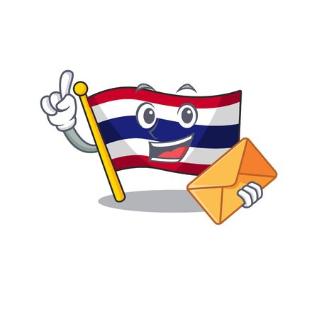 With envelope flag thailand isolated with the character Illusztráció