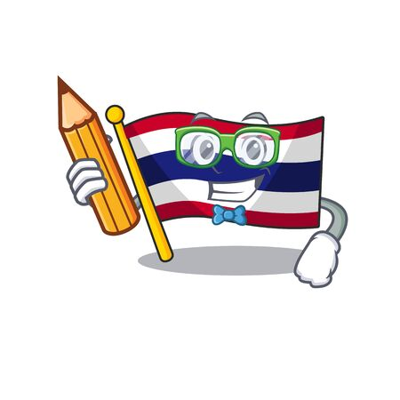 Student flag thailand isolated with the character