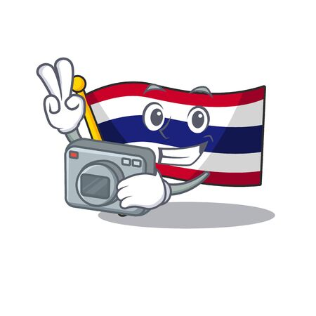 Photographer flag thailand cartoon is stored character closet