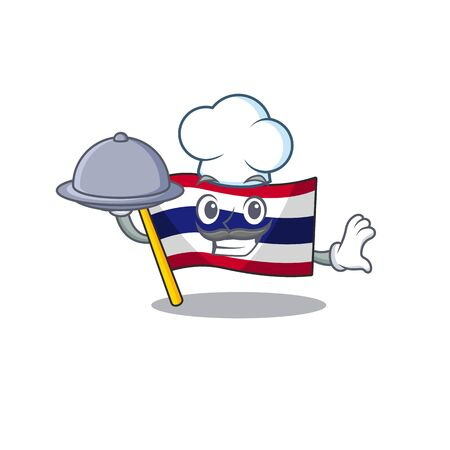 Chef with food flag thailand cartoon is stored character closet Stock Illustratie