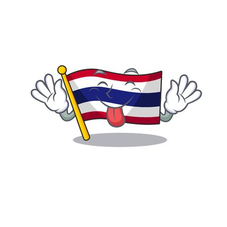 Tongue out flag thailand cartoon is hoisted on character pole Illustration