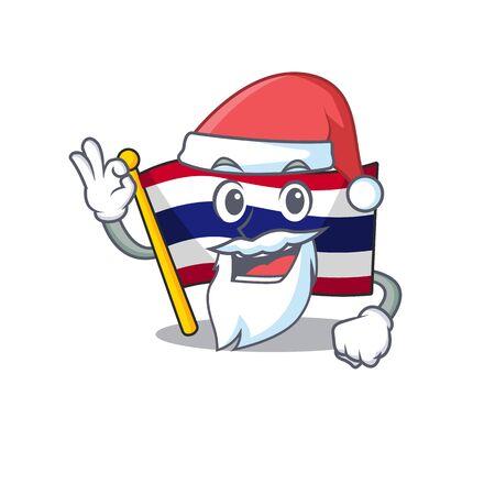 Santa flag thailand cartoon is hoisted on character pole vector illustration