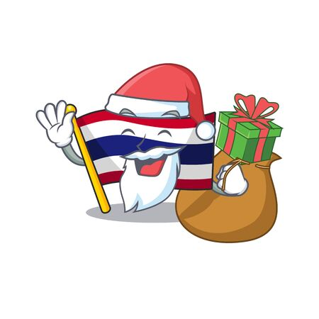 Santa with gift flag thailand cartoon is hoisted on character pole Illustration