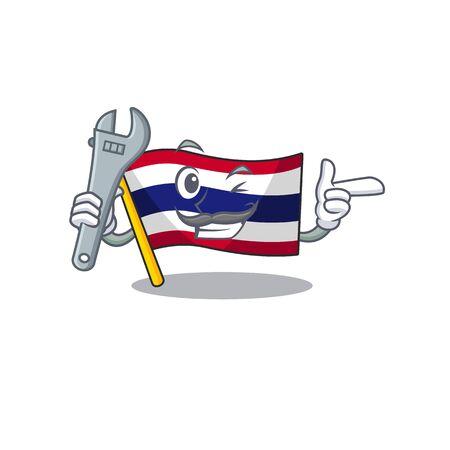 Mechanic flag thailand cartoon is hoisted on character pole vector illustration