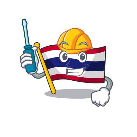 Automotive flag thailand cartoon is hoisted on character pole