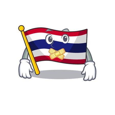 Silent flag thailand cartoon is hoisted on character pole