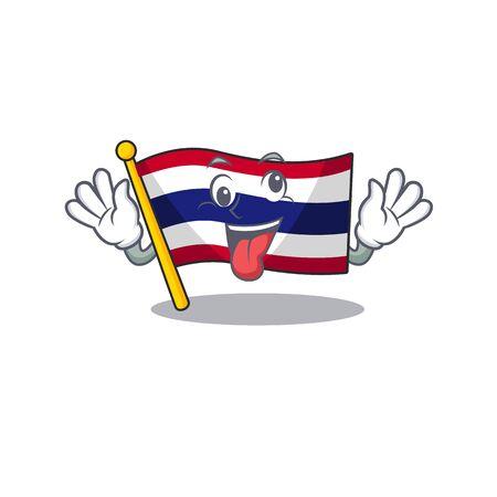 Crazy flag thailand cartoon is hoisted on character pole