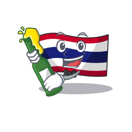 With beer flag thailand cartoon is hoisted on character pole Illustration