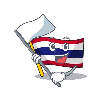 With flag flag thailand cartoon is hoisted on character pole Иллюстрация