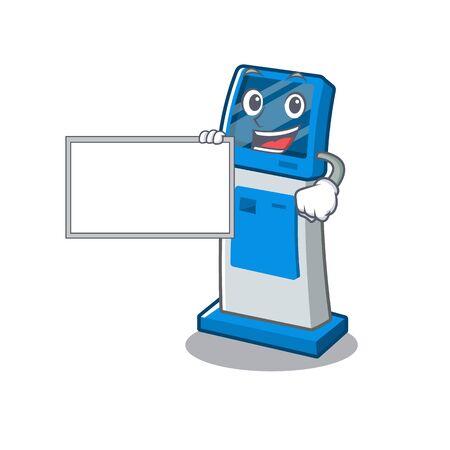 With board digital information cartoon kiosk above mascot table