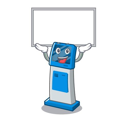 Up board digital information cartoon kiosk above mascot table illustration vector 일러스트