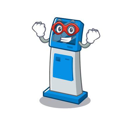 Super hero information digital kiosk with in cartoon shape