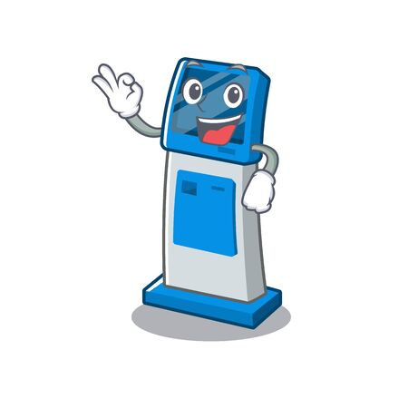 Okay information digital kiosk with in cartoon shape