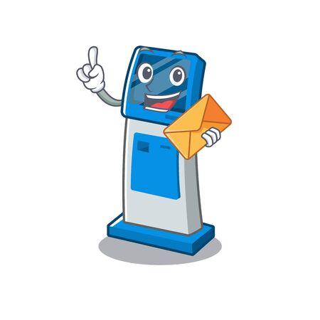 With envelope information digital kiosk with in cartoon shape vector illustration 일러스트