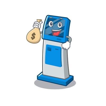 With money bag digital information cartoon kiosk above mascot table