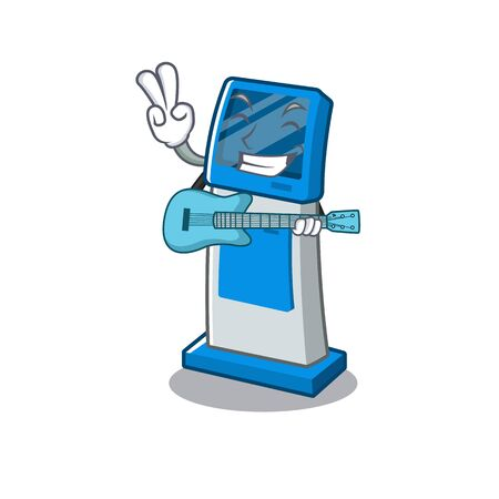 With guitar information digital kiosk isolated in the mascot