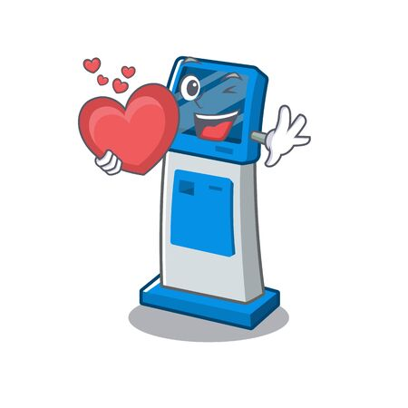 With heart information digital kiosk isolated in the mascot 일러스트