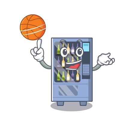 With basketball cartoon wine vending machine on character table Illustration