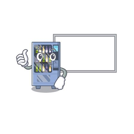 Thumbs up with board cartoon wine vending machine on character table