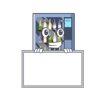 Grinning with board cartoon wine vending machine on character table