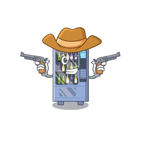Cowboy cartoon wine vending machine on character table