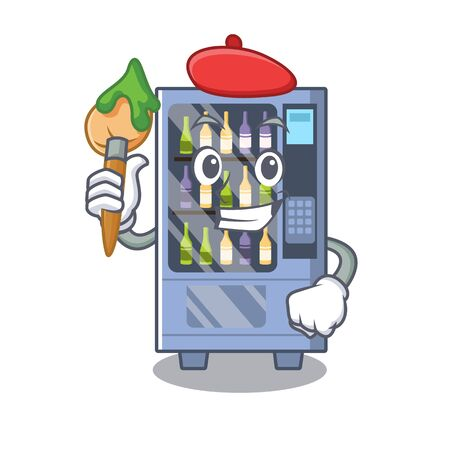 Artist cartoon wine vending machine on character table Illustration