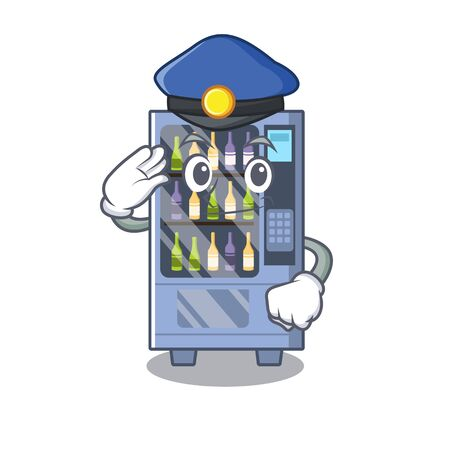 Police cartoon wine vending machine on character table  イラスト・ベクター素材