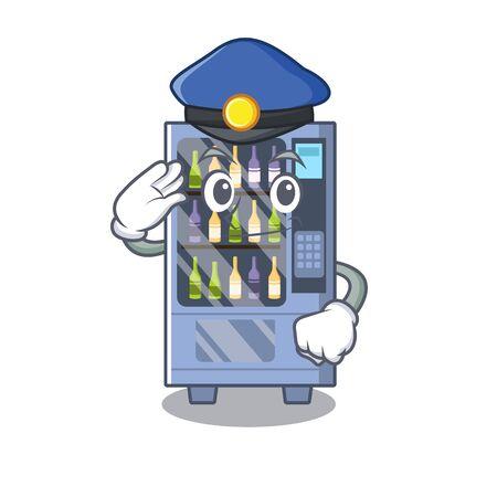 Police cartoon wine vending machine on character table Illustration