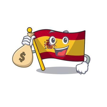 With money bag character spain flags formed with cartoons