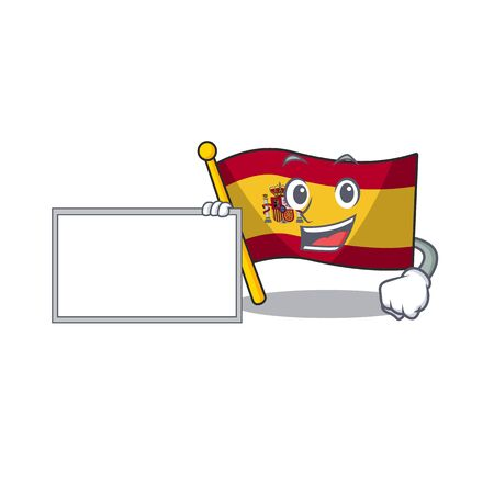 With board character spain flags formed with cartoons