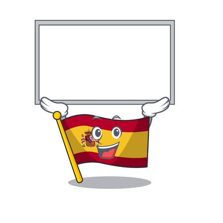 Up board character spain flags formed with cartoons