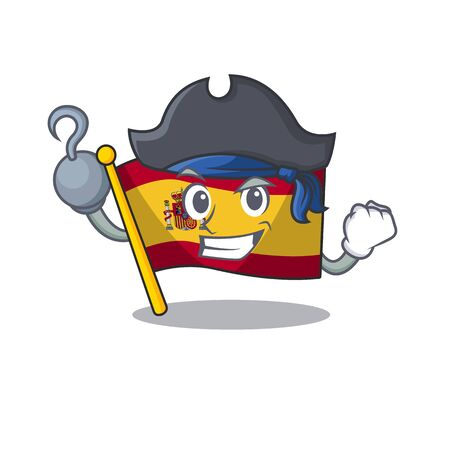 Pirate character spain flags formed with cartoons