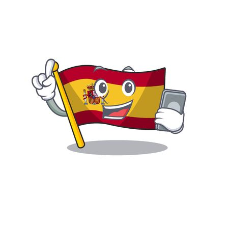 With phone character spain flags formed with cartoons