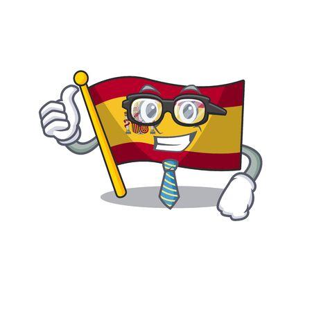 Businessman character spain flag is stored cartoon drawer vector illustration Stock Illustratie