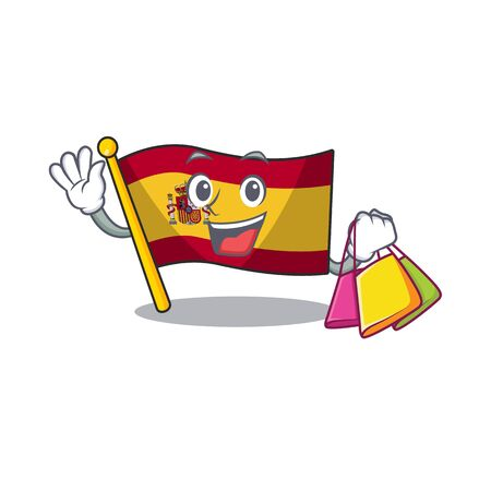 Shopping character spain flag is stored cartoon drawer