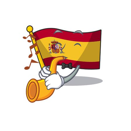 With trumpet flag spain isolated in the cartoon 일러스트
