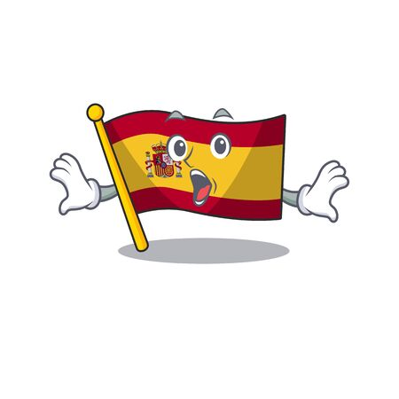 Surprised flag spain isolated in the cartoon
