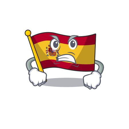 Angry flag spain isolated in the cartoon