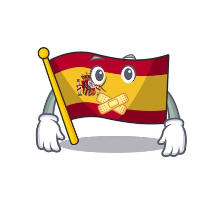 Silent flag spain with in the mascot shape