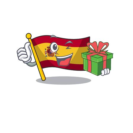 With gift flag spain isolated in the cartoon vector illustration