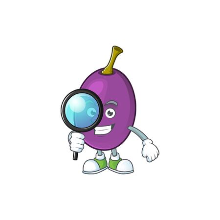 Detective fruit with mascot for beverage