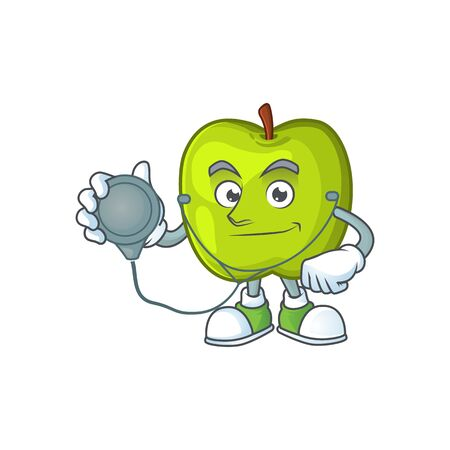 Doctor granny smith in a green apple character mascot  イラスト・ベクター素材