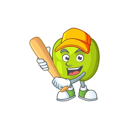 Playing baseball granny smith in a green apple character mascot