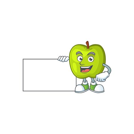 With board granny smith in a green apple character mascot Illustration